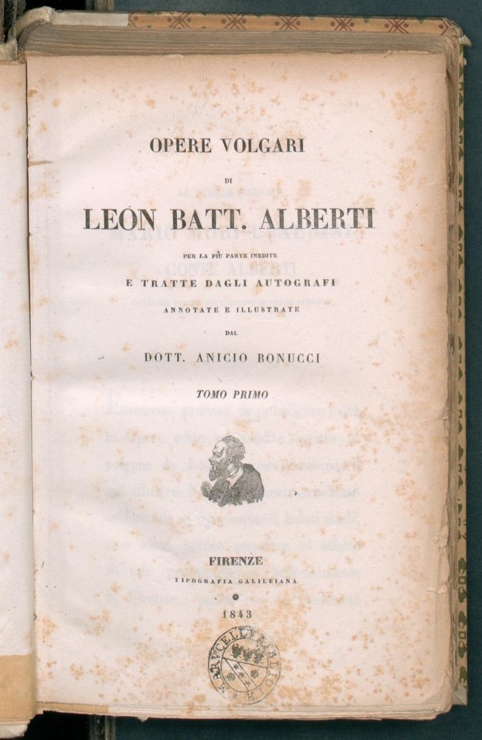 Сочинения на вольгаре Леона Баттисты Альберти. Т. 1. Флоренция, 1843