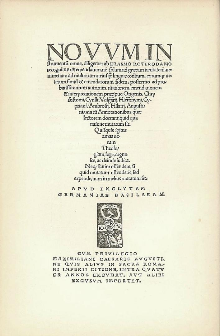 Титульный лист Нового Завета издания Эразма Роттердамского. 1516