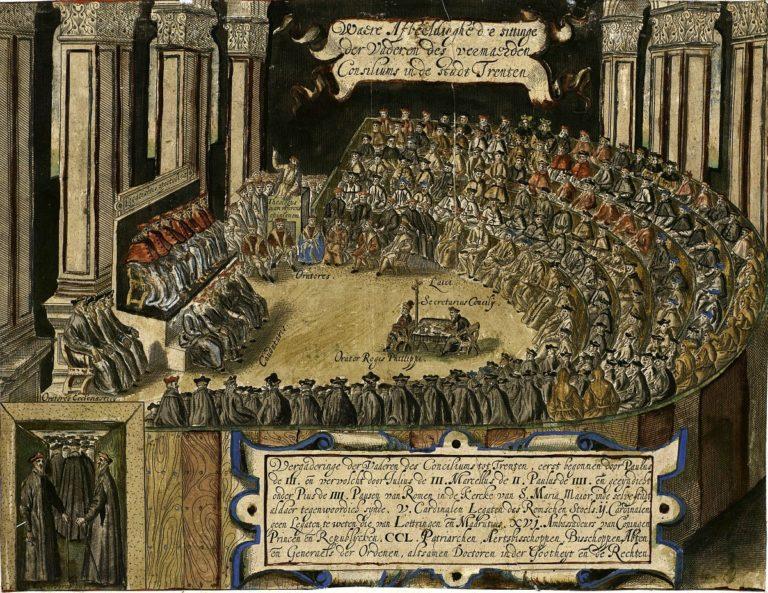 Заседание клириков во время Тридентского собора 1545—1563 гг.. XVII в.