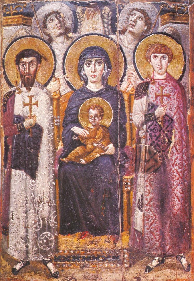 Богородица с Младенцем, св. Феодором и св. Георгием. VI в.