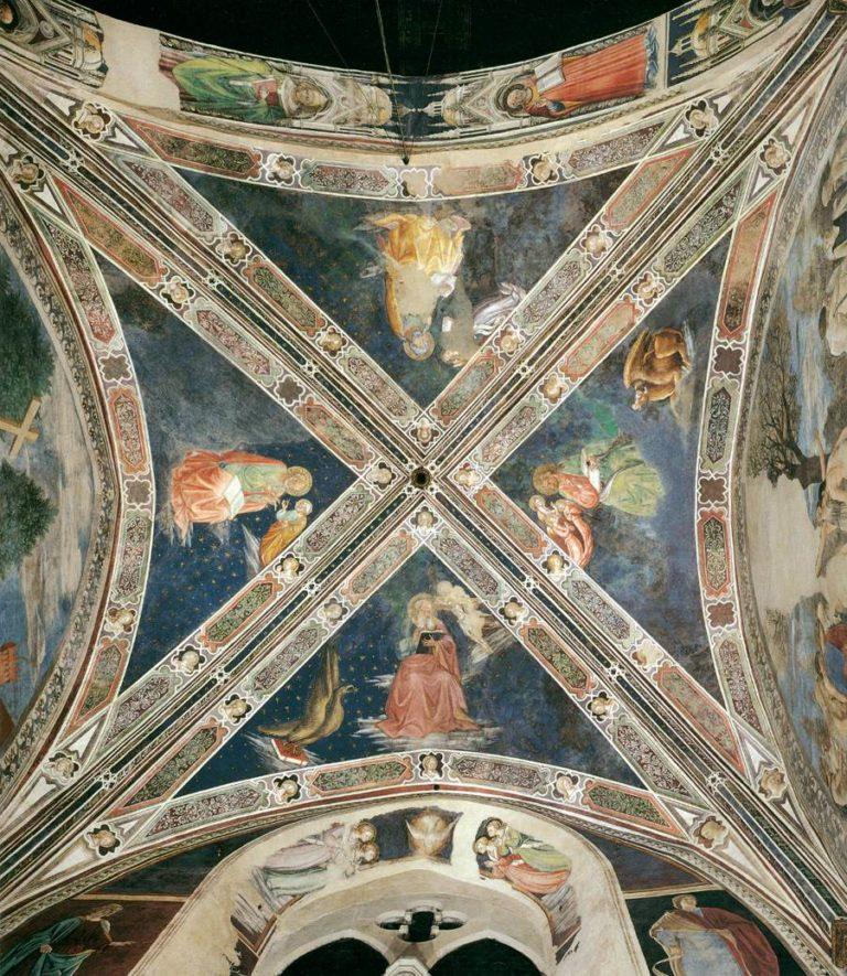 Четыре евангелиста. Плафон базилики Сан-Франческо в Ареццо