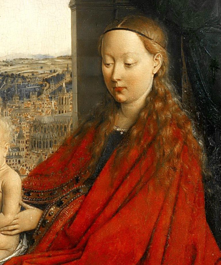 Мадонна канцлера Ролена. Фрагмент. 1435