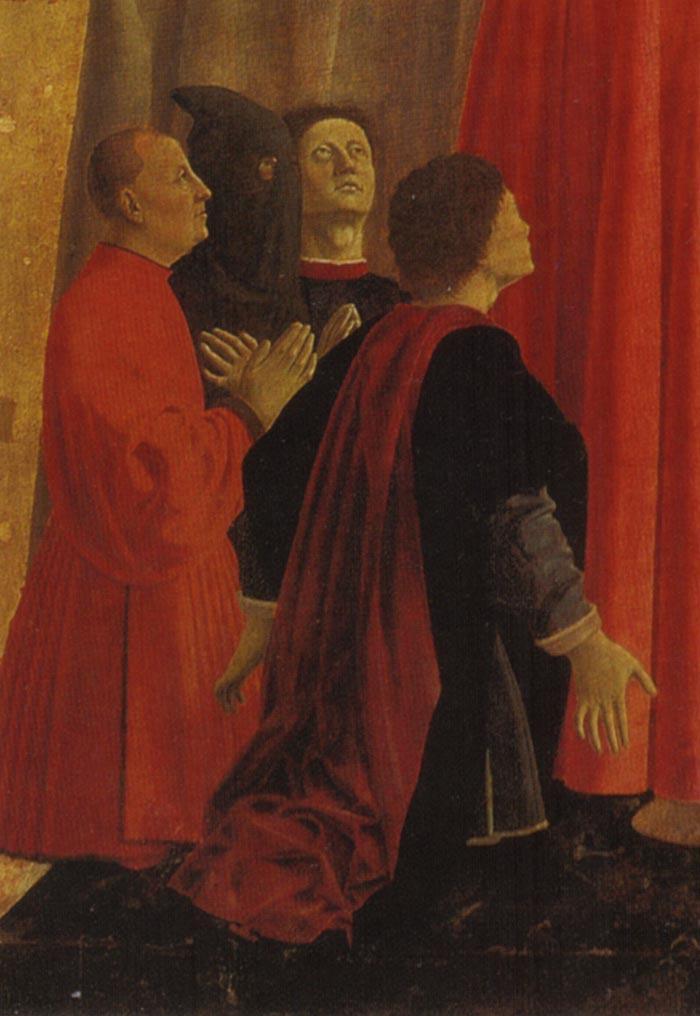 Предполагаемый автопортрет (второй справа). Фрагмент Полиптиха Милосердия. 1445–1462