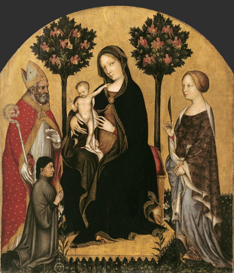 Мадонна со св. Николаем Мирликийским, св. Екатериной Александрийской и донатором. Ок. 1390–1395