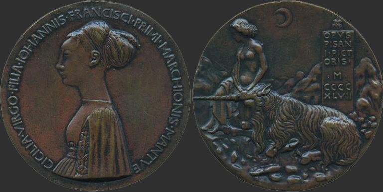 Медаль с изображением Чечилии Гонзага. Аверс. 1447