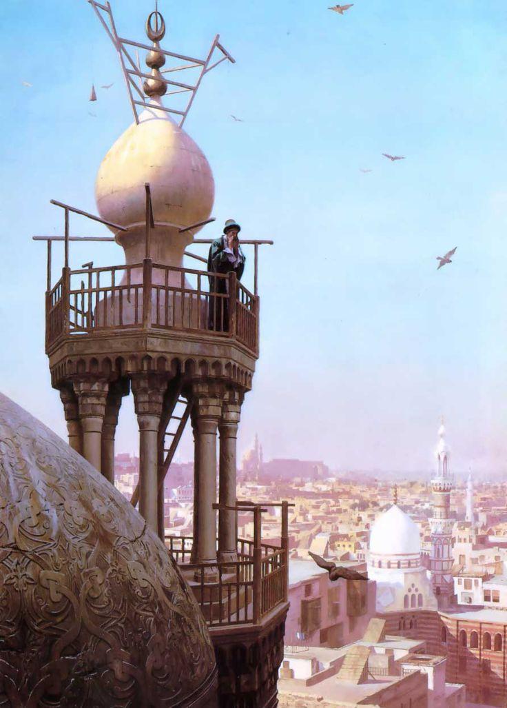 Муэдзин призывает верующих на молитву с вершины минарета. 1879