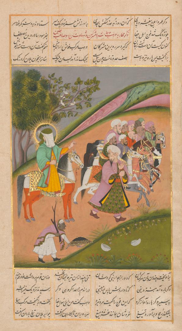 Мухаммад и его сподвижники готовятся к битве. Ок. 1820