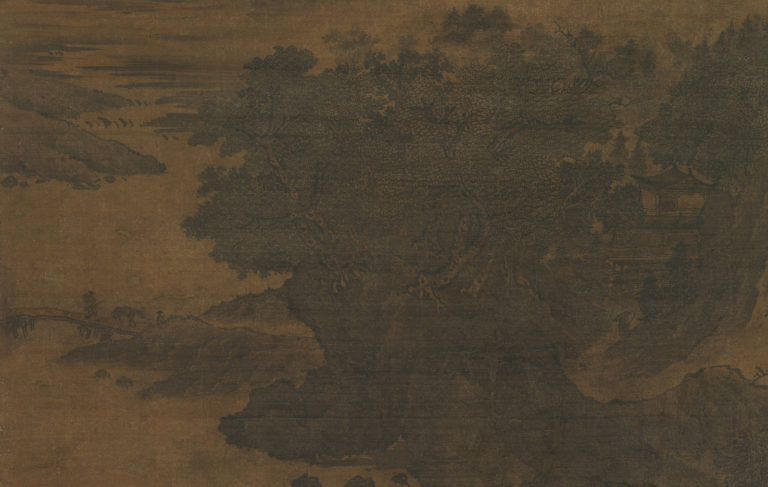 Пейзаж в стиле Фань Куаня. Фрагмент с постройками. Нач. XII в.