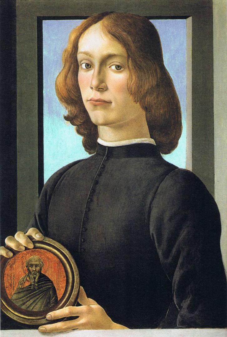Портрет молодого человека, держащего медальон. Ок. 1480–1485