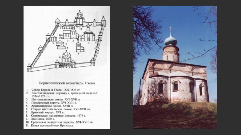 Слева: Схема Ростовского Борисоглебского монастыря. Справа: Собор Ростовского Борисоглебского монастыря. 1522–1524, 1680-е