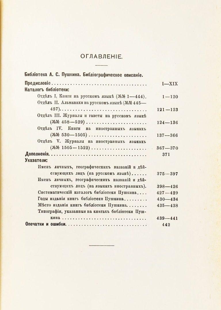 Библиотека А. С. Пушкина. Оглавление. 1988