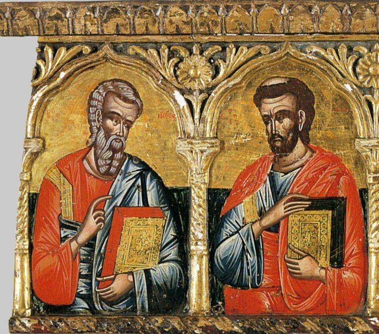 Евангелисты Матфей и Лука. Фрагмент Деисуса. Греция, XVII в.