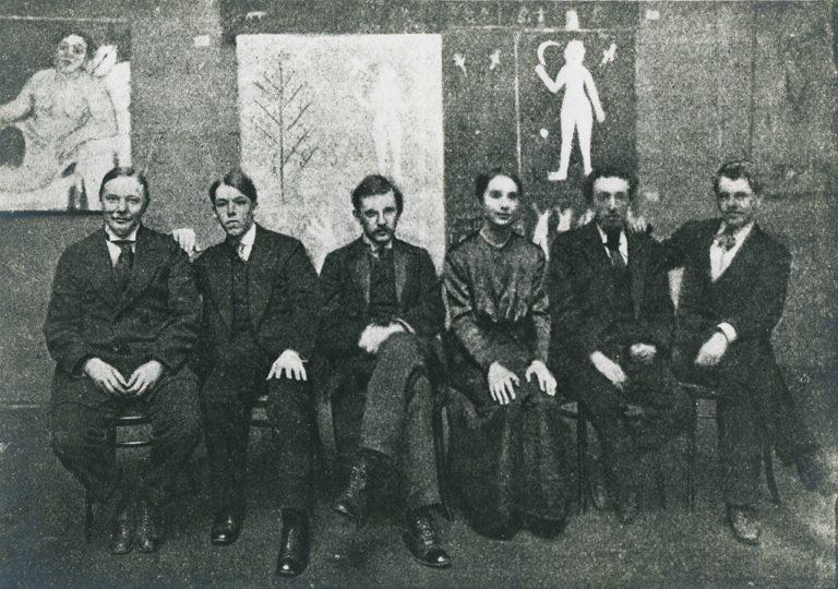 Группа художников на выставке «Ослиный хвост». Фото 1913 г.
