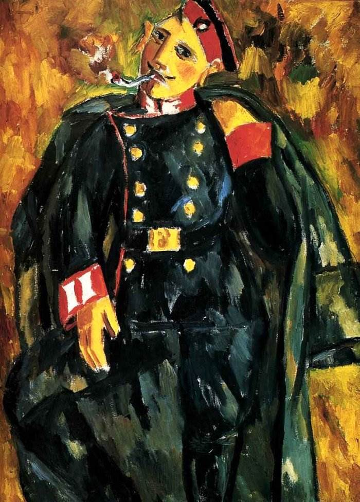 Курящий солдат. 1911