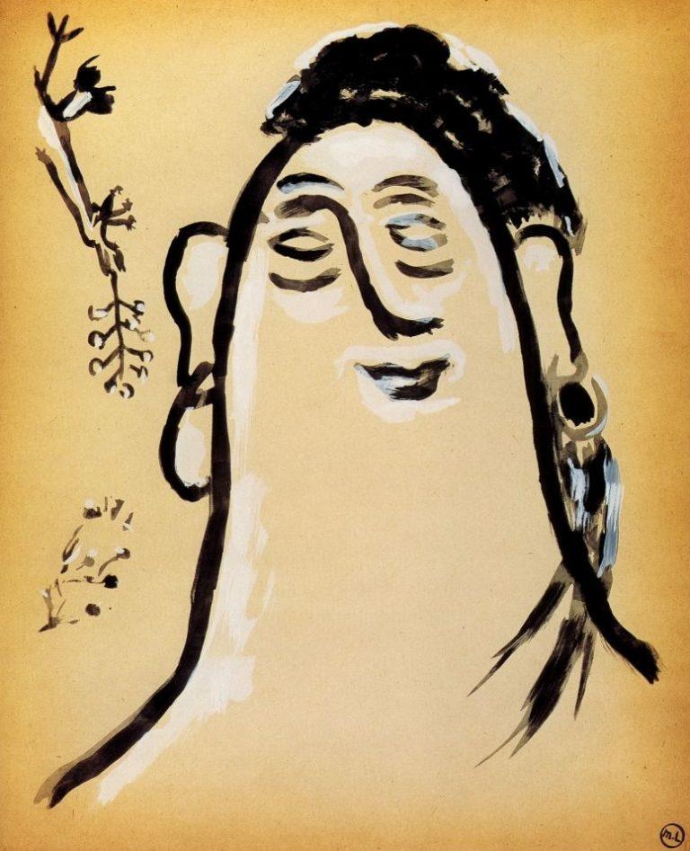 Женская голова и птичка с веткой в клюве. Из альбома «Путешествие в Турцию». 1912
